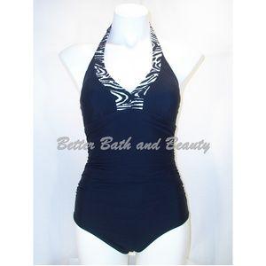 ASSETS 1PC Zebra Halter Swim Suit SMALL Black